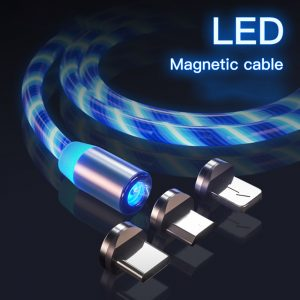 3 in 1 Magnetic USB Color LED Charger Cable with 8 Pin / Micro USB & Type C (Blue)