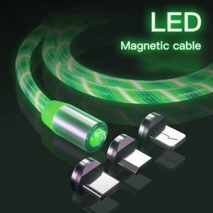 3 in 1 Magnetic USB Color LED Charger Cable with 8 Pin / Micro USB & Type C (Green)