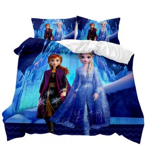 Frozen Elsa & Anna 3D Printed Double Bed Duvet Cover Set (Blue)