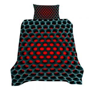 Chromacool 3D Printed Single Bed Duvet Cover Set Red