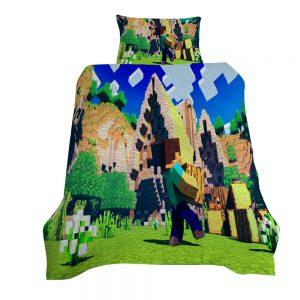 Minecraft Village Builder 3D Printed Single Bed Duvet Cover Set